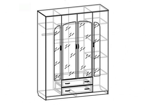 Шкаф 4-х дверный с ящиками Светлана СВ-42