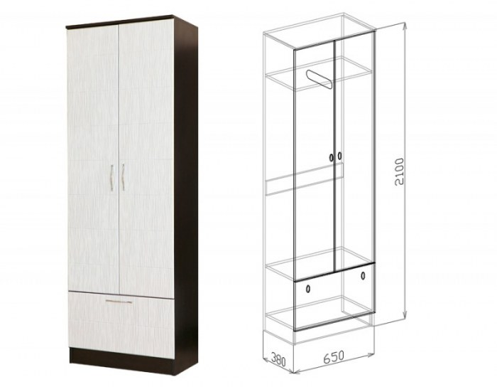 Шкаф 2-дверный София