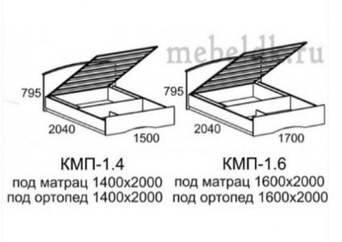 Кровать КМП-1,4 спальное место 1400х2000