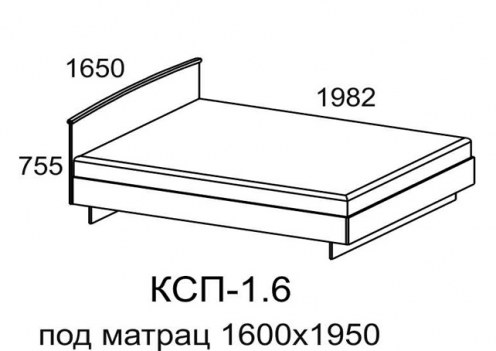 Кровать КСП-1,6 спальное место 1600х1950