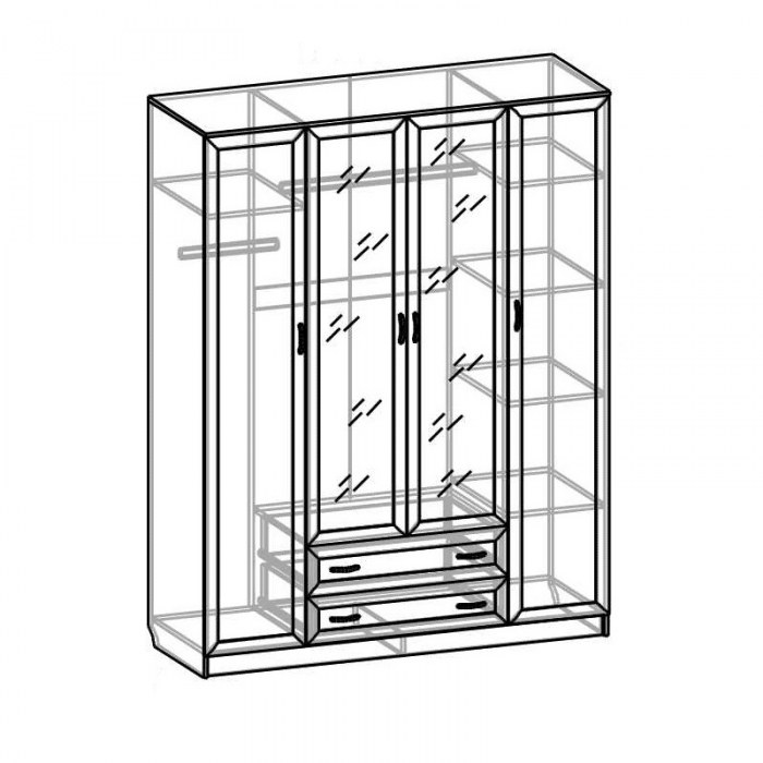 Шкаф 4-х дверный СВР-42 Светлана рамка